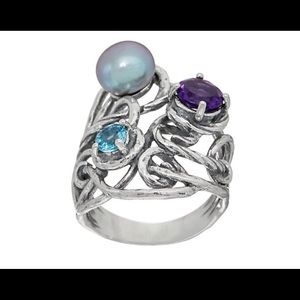 Sterling Silver Cultured Pearl & Gemstone Ring